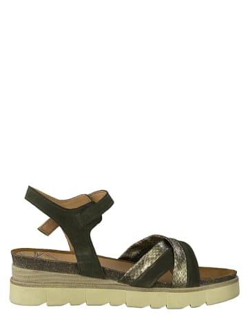 Marco Tozzi Skórzane sandały w klolorze złoto-zielonym