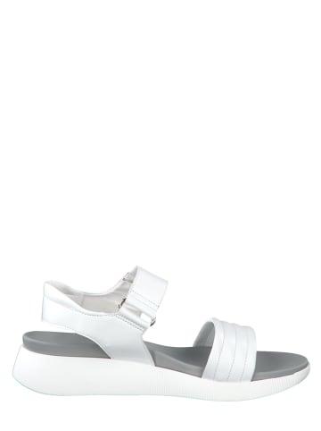 Marco Tozzi Leder-Sandalen in Weiß