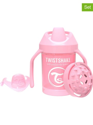 Twistshake 2-delige set: drinkleerflessen lichtroze