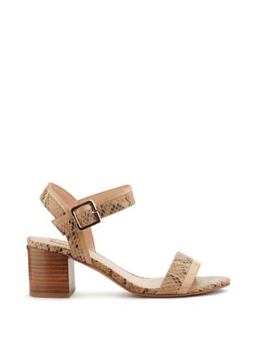 Liu Jo Skórzane sandały w kolorze beżowym ze wzorem