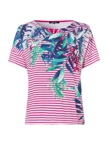Olsen T-shirt w kolorze biało-różowym ze wzorem