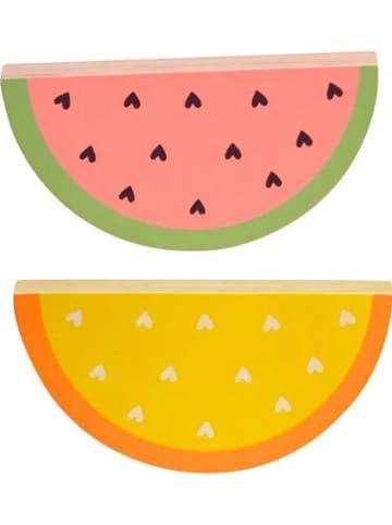 "A little lovely company 2er-Set: Holzdekore ""Watermelon"" in Rosa/ Gelb - (B)10 x (H)5 cm"