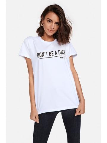 """PLNY LALA T-shirt """"Don't Be A Dick"""" w kolorze białym"""