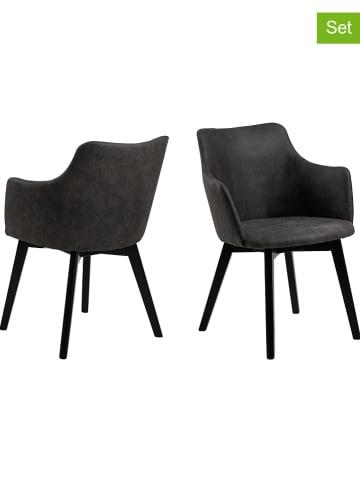 """AC Design 2-delige set: eetkamerstoelen """"Bella"""" antraciet - (B)62 x (H)80 x (D)59 cm"""