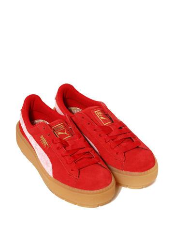 """Puma Skórzane sneakersy """"Platform Trace"""" w kolorze czerwonym"""
