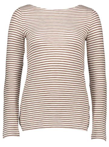 Marc O'Polo DENIM Koszulka w kolorze brązowo-białym