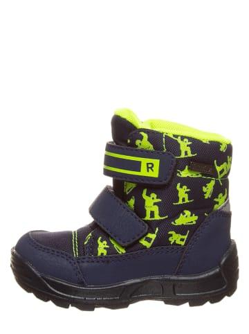 Richter Shoes Botki zimowe w kolorze granatowo-jaskarwożółtym
