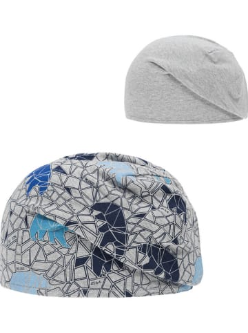 Döll Dwustronna czapka beanie w kolorze niebiesko-szarym