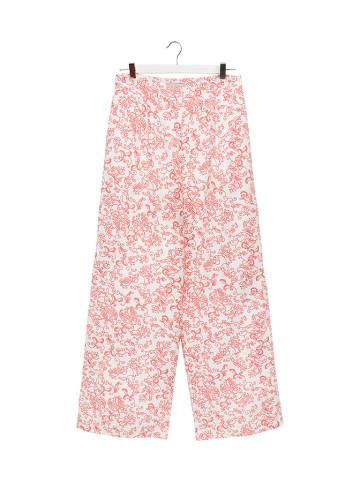 STEFANEL Spodnie w kolorze biało-czerwonym