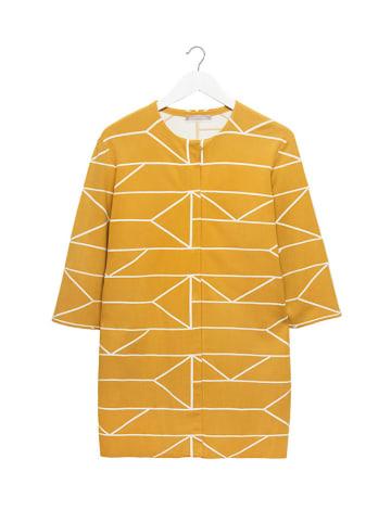 STEFANEL Płaszcz w kolorze żółtym ze wzorem