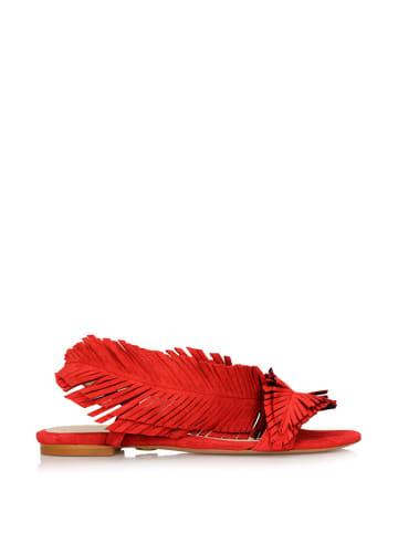 Baldowski Skórzane sandały w kolorze czerwonym