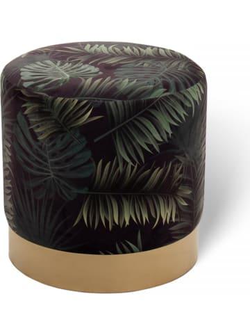 "Lifa Living Poef ""Beau - Palmblad"" zwart/groen - (H)38 x Ø 38 cm"