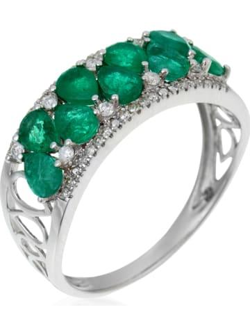 """DIAMOND & CO Witgouden ring """"Koh Lipe"""" met diamanten en smaragten"""