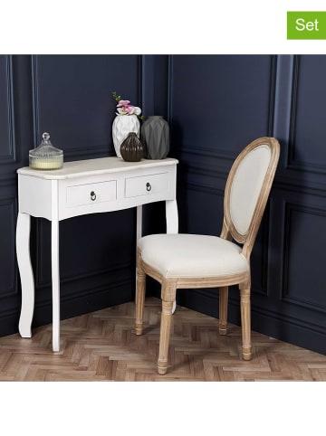 "THE HOME DECO FACTORY 2er-Set: Esszimmerstühle ""Eleonor"" in Beige - (B)48 x (H)96 x (T)46 cm"