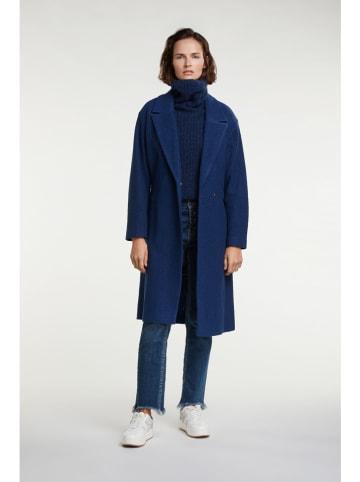 Oui Scheerwollen mantel blauw