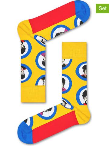 """Happy Socks Skarpety (2 pary) """"Beatles Submarine"""" w kolorze żółto-niebiesko-czerwonym"""