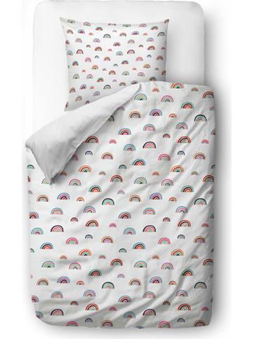 """Mr Little Fox Satijnen beddengoedset """"Cute Rainbows"""" wit/meerkleurig"""