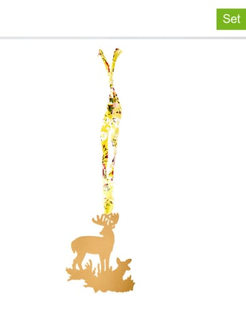 "Rice 6-delige set: decoratieve hangers ""Christmas"" lichtbruin - (B)8,5 x (H)9,5 cm"
