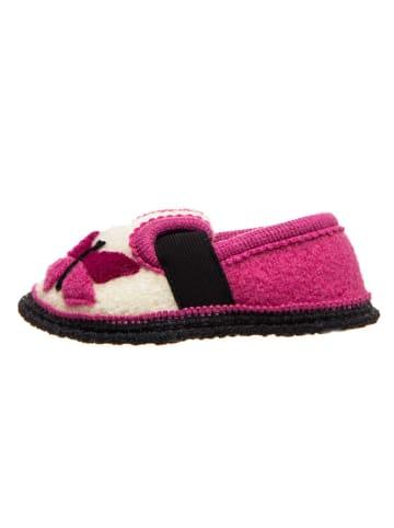 """Kitz-pichler Hausschuhe """"Bobby - Schmetterling"""" in Pink/ Weiß"""