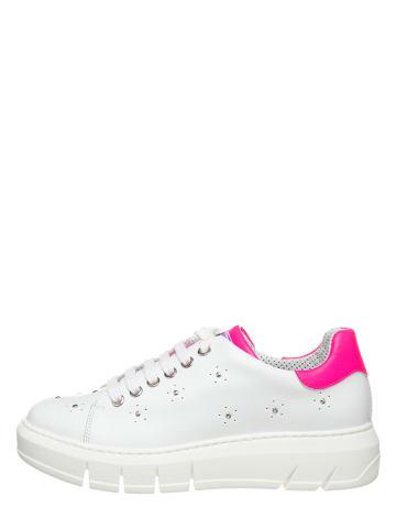 "The Flexx Leren sneakers ""Elly"" wit/neonroze"