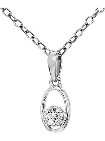Diamant Vendôme Zilveren ketting met diamanten hanger - (L)40 cm