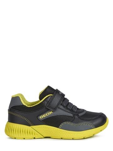 """Geox Sneakersy """"Sveth"""" w kolorze czarno-limonkowym"""