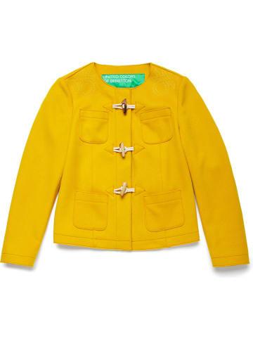 Benetton Wełniana kurtka w kolorze żółtym