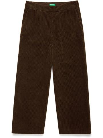 Benetton Spodnie sztruksowe w kolorze ciemnobrązowym