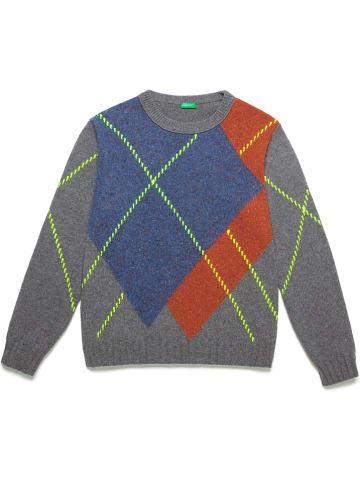 Benetton Wollen trui grijs