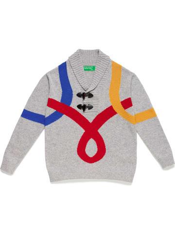 Benetton Wełniany sweter w kolorze jasnoszarym