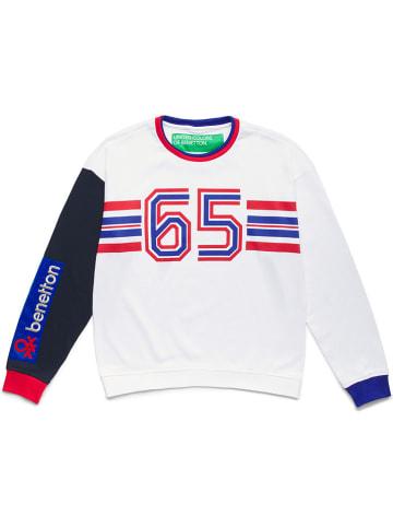 Benetton Sweatshirt wit/donkerblauw