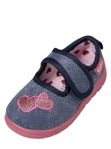 Playshoes Pantoffels blauw/lichtroze