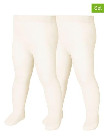 Playshoes Rajstopy (2 pary) w kolorze kremowym