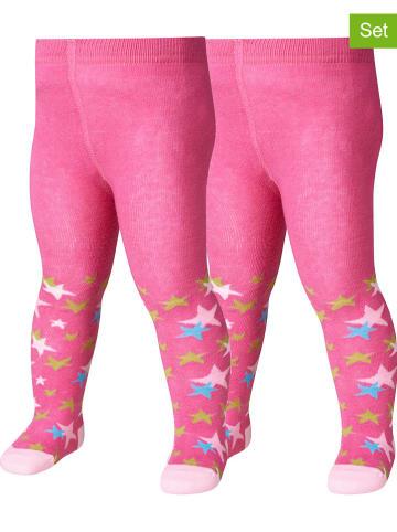 Playshoes Rajstopy (2 pary) w kolorze różowym