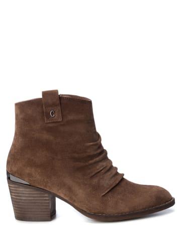 CARMELA Leder-Ankle-Boots in Camel
