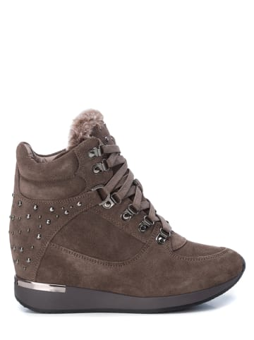 CARMELA Leder-Ankle-Boots in Taupe