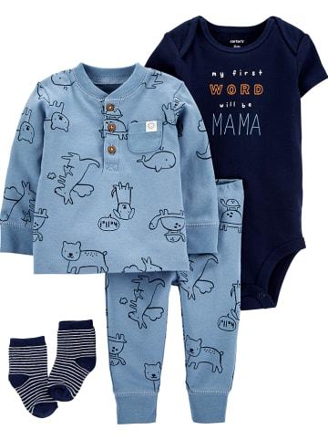 Carter's 4-delige outfit blauw/grijs