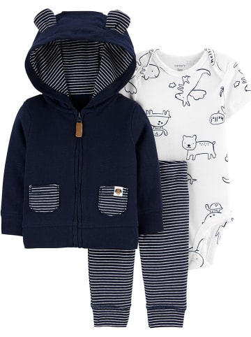 Carter's 3-delige outfit donkerblauw/wit