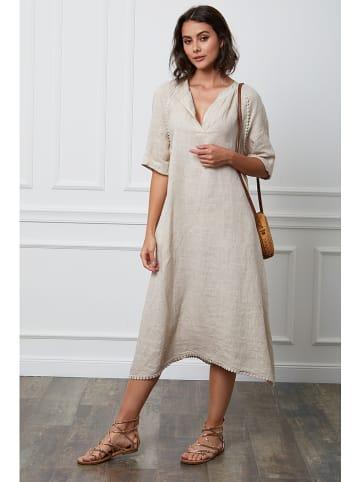 """Fleur de Lin Lniana sukienka """"Granel"""" w kolorze beżowym"""