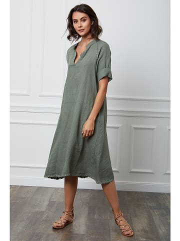 "Fleur de Lin Lniana sukienka ""Granel"" w kolorze khaki"