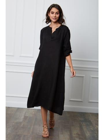 """Fleur de Lin Linnen jurk """"Granel"""" zwart"""