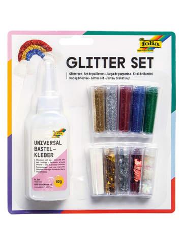 Folia 11-delige glitterset meerkleurig