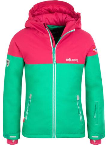 """Trollkids Kurtka narciarska """"Hallingdal"""" w kolorze zielono-różowym"""