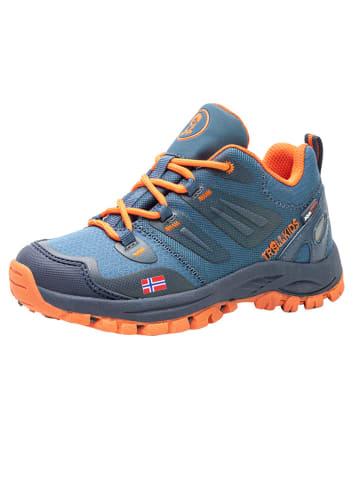 """Trollkids Buty trekkingowe """"Rondane Hiker Low"""" w kolorze niebiesko-pomarańczowym"""