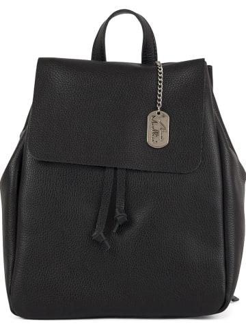 Anna Morellini Skórzany plecak w kolorze czarnym - 26 x 33 x 8 cm