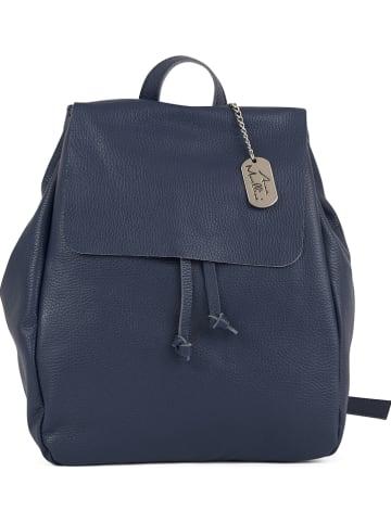 Anna Morellini Skórzany plecak w kolorze granatowym - 26 x 33 x 8 cm
