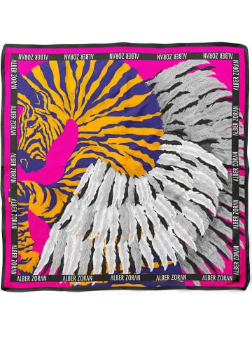 """Alber Zoran Tuch """"Zebra Angelical"""" in Pink/ Orange/ Weiß - (L)90 x (B)90 cm"""