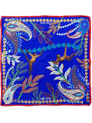 "Alber Zoran Tuch ""Monitos"" in Blau/ Braun - (L)90 x (B)90 cm"