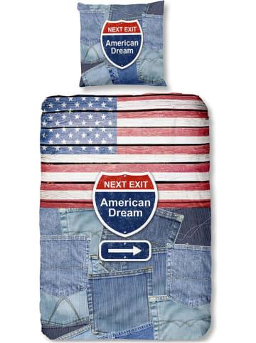 "Good Morning Beddengoedset ""USA"" blauw/rood"