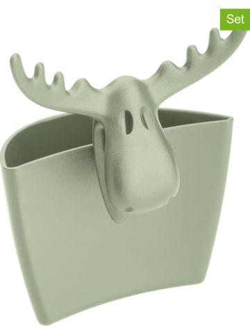 "Koziol 4-delige set: theezakjeshouders ""Rudolf"" groen - (B)7,2 x (H)8,8 x (D)5,5 cm"